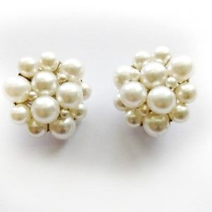 PEARL Antique Cluster Clip Earrings
